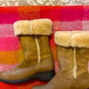 Knee height sheepskin boots. Made in Canada
